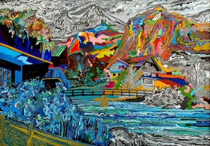 "Cham Hendon  Mountain Chalet  acrylic and rhoplex on canvas  42"" x 60"""