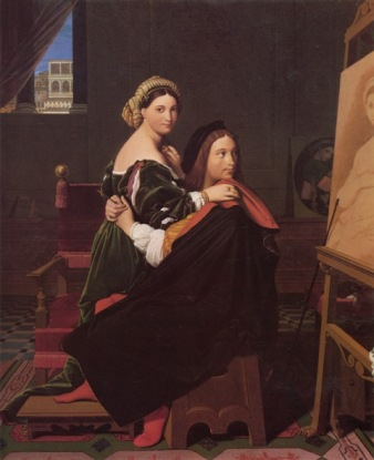 Raphael And La Fornarina by Jean Auguste Dominique Ingres, 1814 Oil on canvas 64.8 x 53.3 cm (25 1:2 x 21 in.)