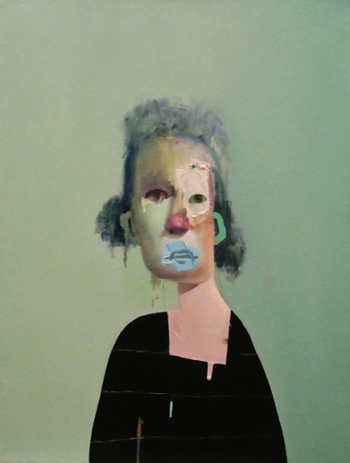 Untitled Portrait with Four Stripes and Green Painted Ear 2014 oil on canvas 18x24inches