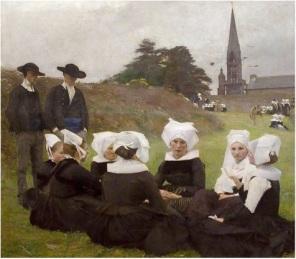 4Pascal Dagnan-Bouveret, Les Bretonnes au Pardon, 1887 49.3 in × 55.6 in oil on canvas