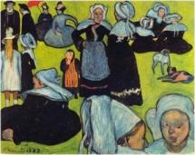 5Breton Women in the Meadow. Émile Bernard, 1888 oil on canvas 36.6 × 29.1 in